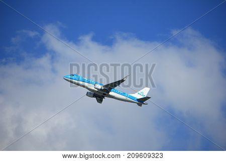 Amsterdam the Netherlands - September 23rd 2017: PH-EXN KLM Cityhopper Embraer ERJ-175STD takeoff from Kaagbaan runway Amsterdam Airport Schiphol