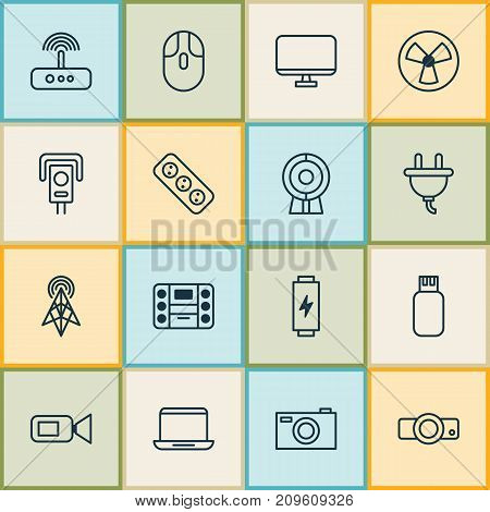 Hardware Icons Set. Collection Of Notebook, Camcorder, Extension Cord And Other Elements