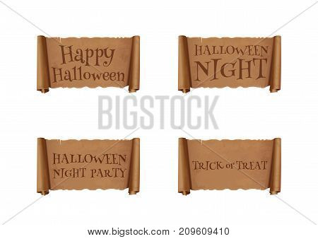 Halloween banners collection. Halloween inscriptions set on an ancient parchment. Happy Halloween. Halloween Night Party. Trick or Treat. Vector illustration