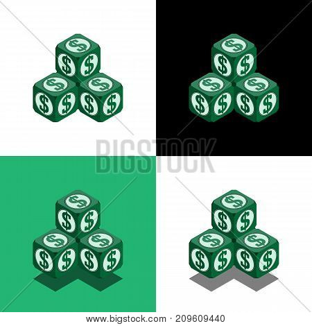 Pyramid Of The Cubes With Dollar Logo In Isometric View