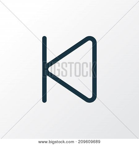 Premium Quality Isolated Start Element In Trendy Style.  Backward Outline Symbol.