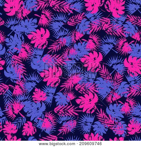 Abstract Seamless Tropical Pattern For Girl And Boy. Creative Vector Background, Colorful Wallpaper