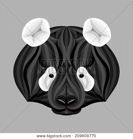 Black Panda Bear, Picture Of Panda Head In Black