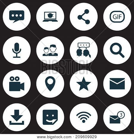 Internet Icons Set. Collection Of Gif Sticker, Pin, Letter And Other Elements