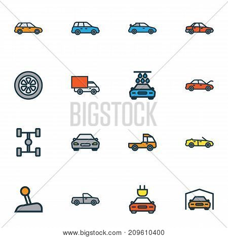 Automobile Colorful Outline Icons Set. Collection Of Car, Automobile, Auto And Other Elements