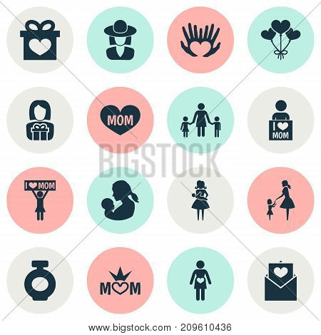 Mothers Day Icon Design Concept. Set Of 16 Such Elements As Lady, I Love Mom And Fragrance