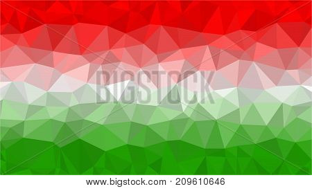 Stylized background of flag of Hungary, low poly triangle illustration.