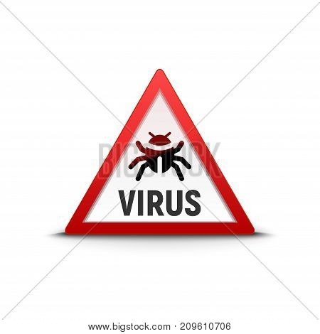 Computer virus sign warning trojan. Security internet virus alert infection.