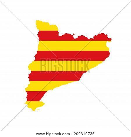 Catalonia barcelona map border flag design icon