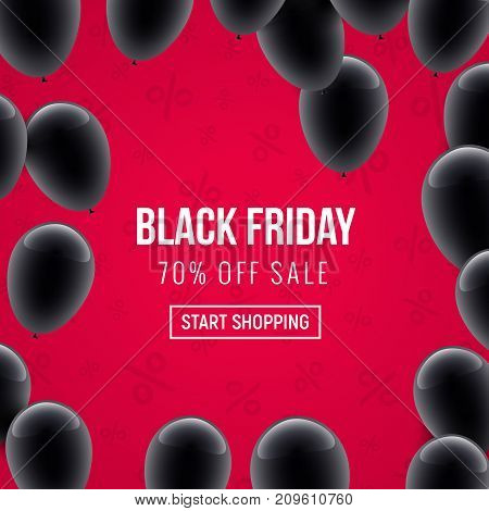 Black friday sale design vector poster. Black friday marketing clearance sale banner balloon decoration.