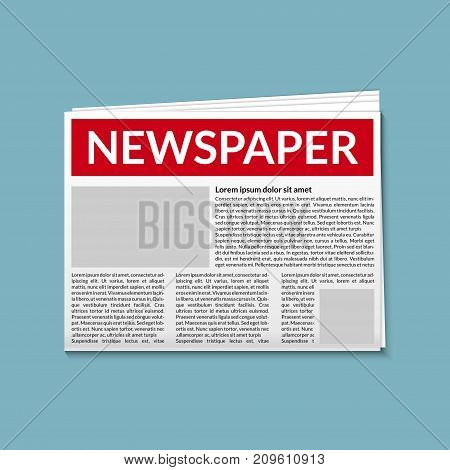 Newspaper vector daily news flat object icon. Headline article journal.
