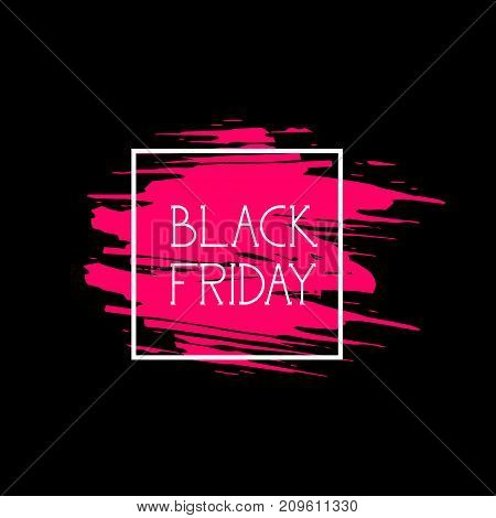 Black Friday Label Big Shopping Promotion Sale Icon, Price Discount Logo On Pink Grunge Background Vector Illustration