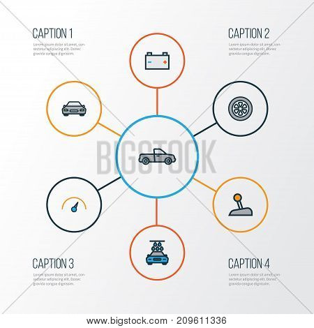 Car Colorful Outline Icons Set. Collection Of Washing, Drive, Accumulator And Other Elements