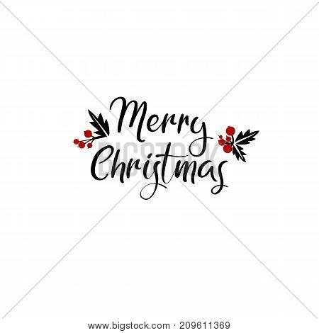 Merry Christmas Hand Lettering Greeting Card. Vector Illistration. Modern Calligraphy. Handwritten Christmas Decor