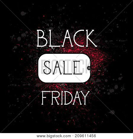 Black Friday Shopping Tag, Holiday Sale Concept, Price Discount Banner Over Grunge Background Vector Illustration