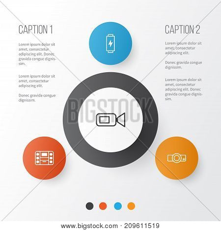 Device Icons Set. Collection Of Presentation, Camcorder, Charge And Other Elements