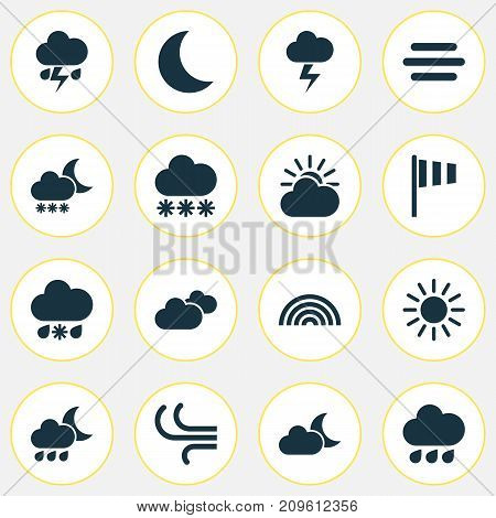 Climate Icons Set. Collection Of Sun-Cloud, Flash, Snowy And Other Elements