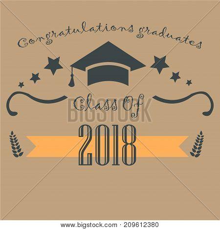 Graduation Class of 2018. Paper Background. Vector Illustration.