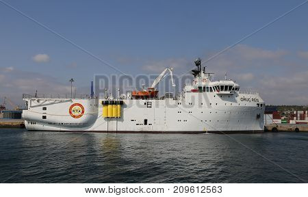 ISTANBUL TURKEY - SEPTEMBER 16 2017: RV MTA Oruc Reis is a Turkish research vessel in Haydarpasa Port. The vessel is 87 m long has a beam of 23 m a depth of 8 m and a draft of 6 m