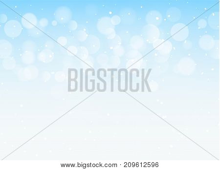 Abstract blue light bokeh xmas card glitter decoration. Christmas shiny sky pattern background.