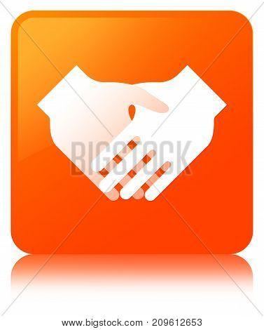 Handshake Icon Orange Square Button