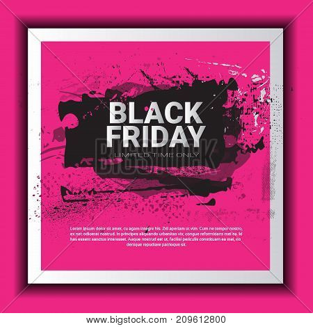 Black Friday Poster Over Grunge Background, Special Sale Banner, Shopping Promotion And Discount Concept Vector Illustration