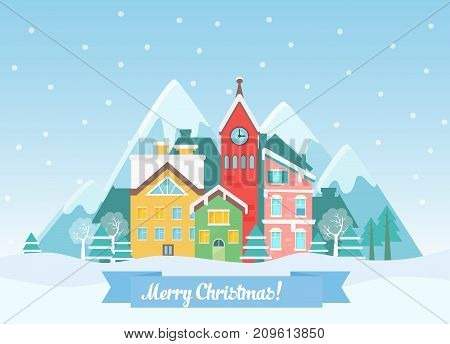 Vector Flat winter Christmas cityscape near mountains. Urban town landscape with falling snow and city with cute houses.