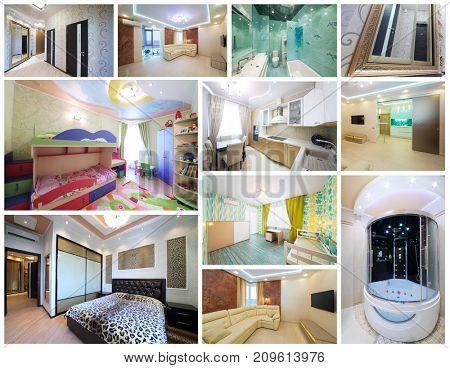 Collage with interiors - living room, bathroom, bedroom, children room