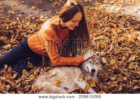 a girl in an orange sweater lies on the fallen leaves and strokes her dog. Golden autumn, a warm, sunny day. The dog is man's best friend.