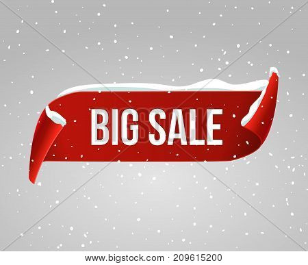 Big sale curved paper vector banner. Red advertising snow banner christmas design concept. Sale badge.