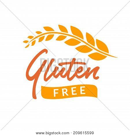 Gluten free drawn isolated sign icon. Healthy lettering symbol of gluten free.