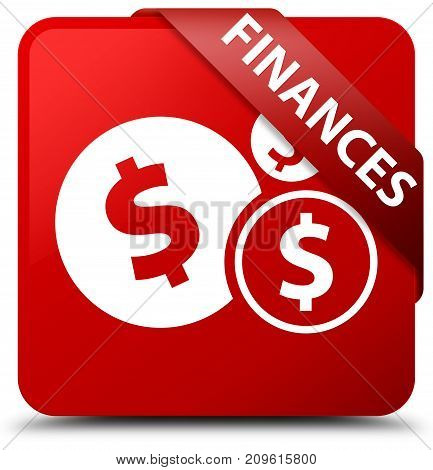 Finances (dollar Sign) Red Square Button Red Ribbon In Corner