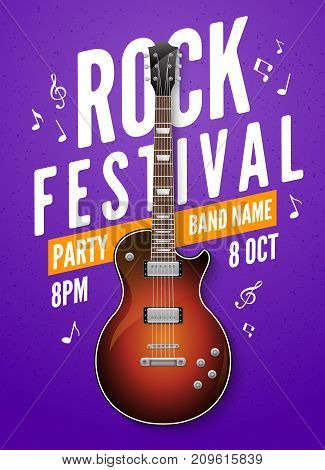 Rock festival flyer event design template. Guitar rock vector poster music band.