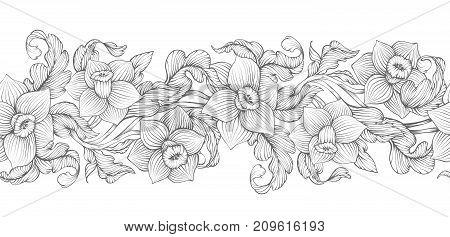 Daffodils Narcissus Dense Outline Sketch Drawing Floral Seamless Border. Spring Flowers Black And Wh
