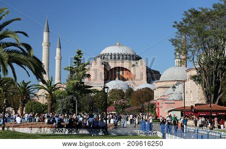 ISTANBUL TURKEY - SEPTEMBER 01 2017: People in front of Hagia Sophia museum in Sultanahmet Square.
