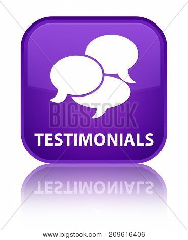Testimonials (comments Icon) Special Purple Square Button