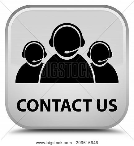 Contact Us (customer Care Team Icon) Special White Square Button