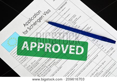 Paper Blank Form Schengen Visa With The Stamp Approved