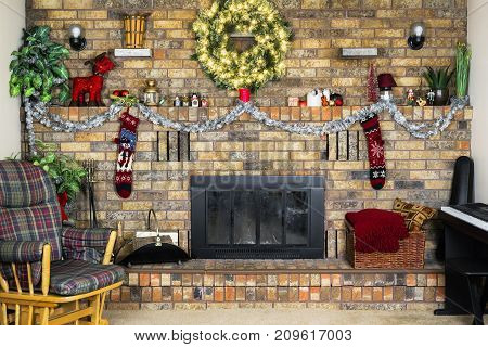 Cozy Room With Brick Fireplace Decorated For Christmas, Rocking Chair And Piano, Vintage