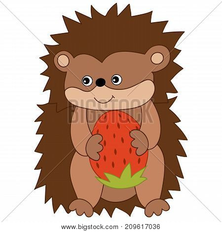 Vector cute hedgehog with strawberry. Vector hedgehog. Hedgehog vector illustration