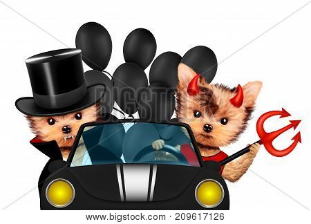 Funny cartoon animal Dracula and Devil sit in black car with balloon. Halloween and Dead day concept. Realistic 3D illustration.