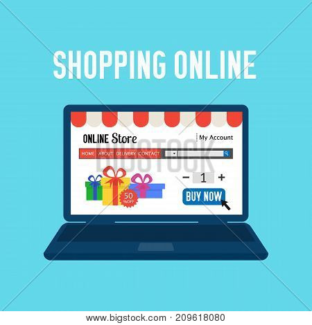 Online store. Shopping online. E-commerce shopping concept. Colored flat web market isolated on blue. Design for website mobile banner poster.