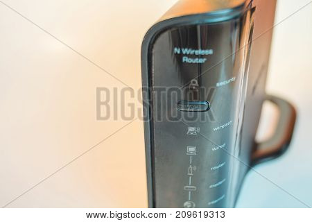 Wireless Internet Router modem front close up