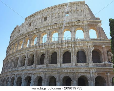 Great Roman Colosseum ( Coliseum, Colosseo ), Flavian Amphitheatre. Rome. Italy.