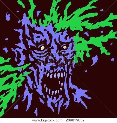 Zombie brains explode. Vector illustration. Genre of horror. Terrible character for Halloween.