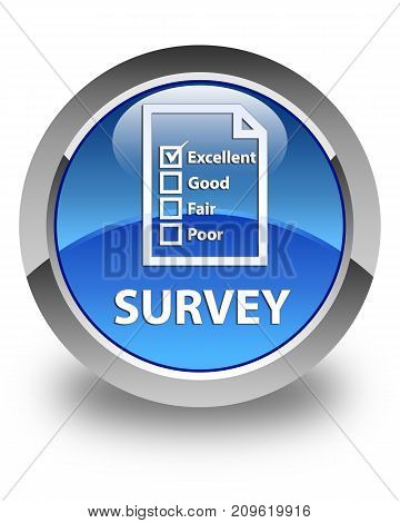 Survey (questionnaire Icon) Glossy Blue Round Button