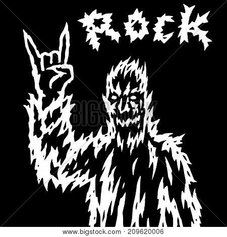 The rock demon gestures with the fingers of the horn. Vector illustration. Genre of horror. Scary rock'n'roll character.