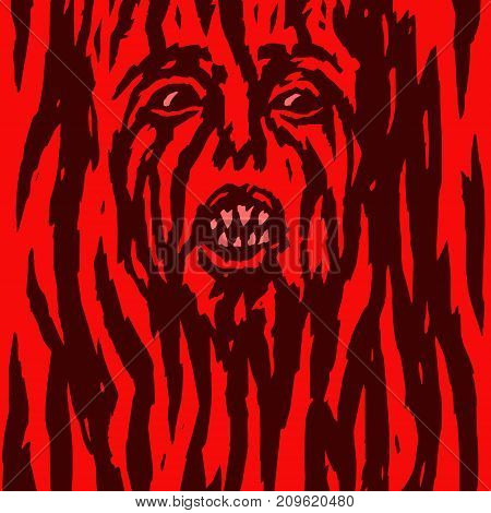 Furious red demon woman is bleeding. Vector illustration. Allegorical form. Genre of horror. Terrible character head for halloween.