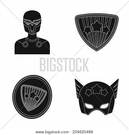Man, mask, cloak, and other  icon in black style.Costume, superhero, superforce icons in set collection