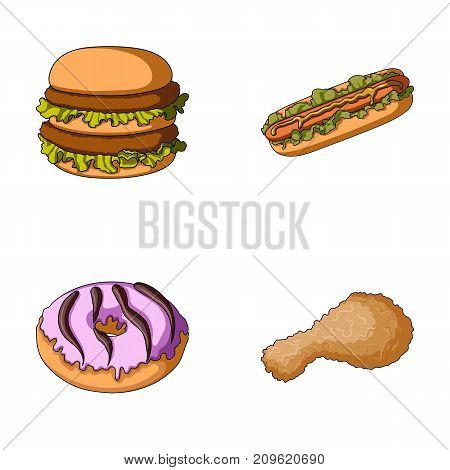 Fast food, meal, and other  icon in cartoon style.Hamburger, bun, flour, icons in set collection